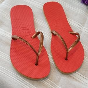 Havaianas Flip Flops Orange w/gold straps